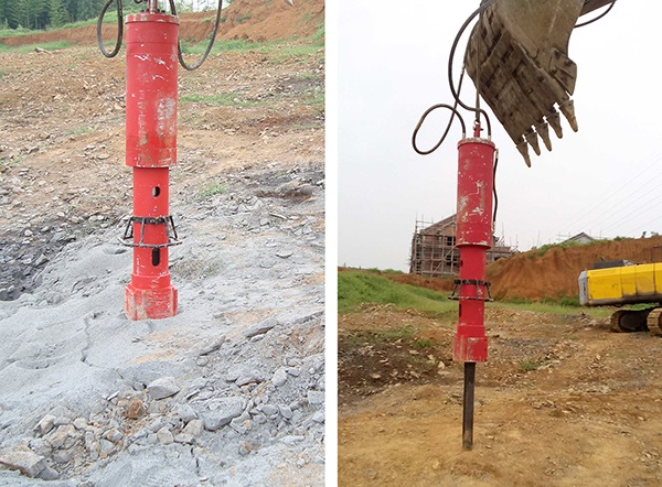 Excavator mounted Jumpo Super Wedge on worksite